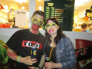 Me and Sarah with warm zombie festival beer