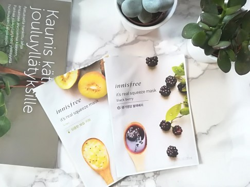 November Empties: Innisfree It's Real Squeeze Blackberry and Kiwi Masks