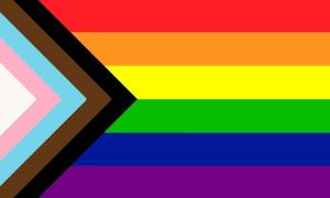 Pride flag with trans and BAME colours