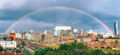 A full rainbow over the Manchester skyline