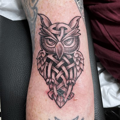 Celtic owl tattoo done in July 2021