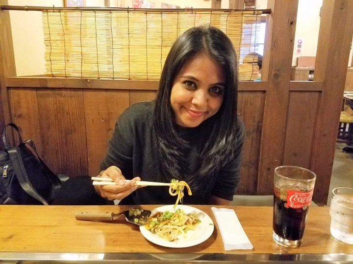 Tasting okonomiyaki
