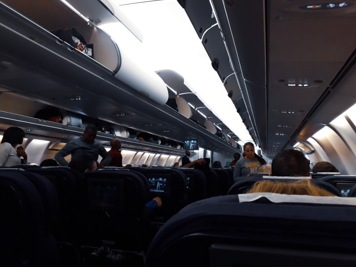 Empty plane going to New York City