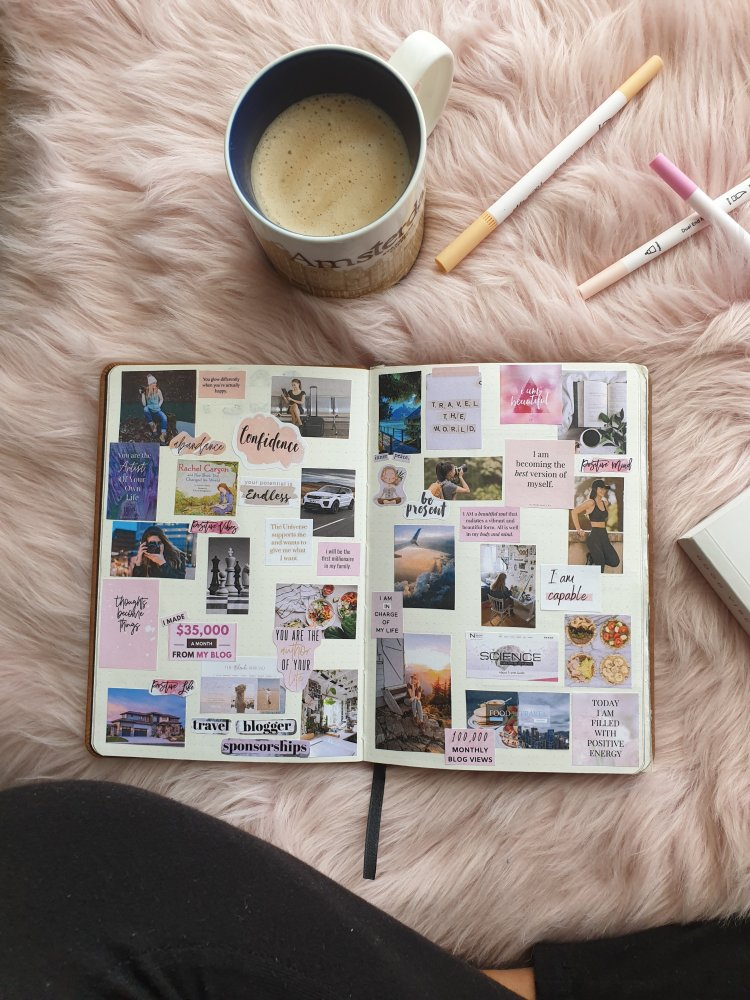 cup of coffee and bullet journal, vision board example