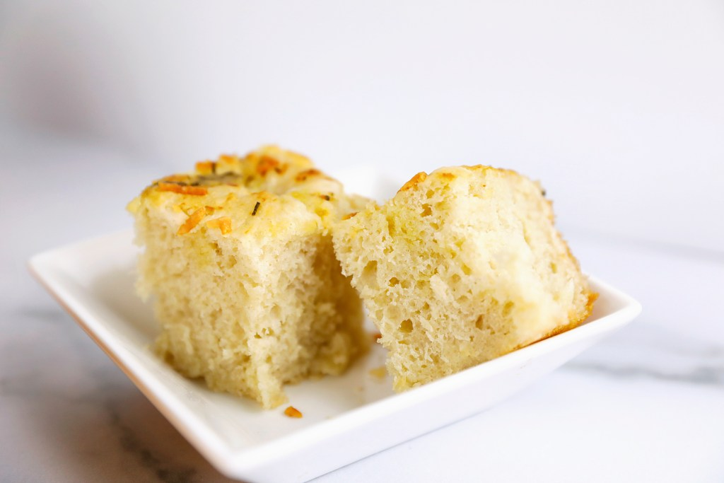 Thick foccacia bread with roasted garlic, rosemary and parmesan cheese.