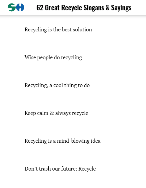 Recycling-Slogans