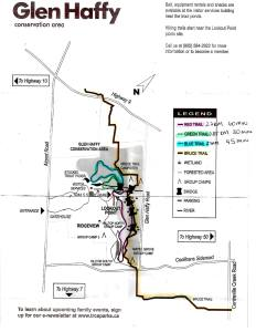 Glen Haffy Conservation Area Map, Hiking Trail Map Ontario, Hiking Caledon,