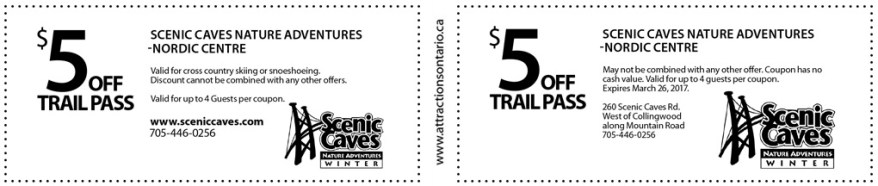 Scenic Caves Nordic Skiing coupon, Skiing Coupons Ontario, Ontario Winter Coupons