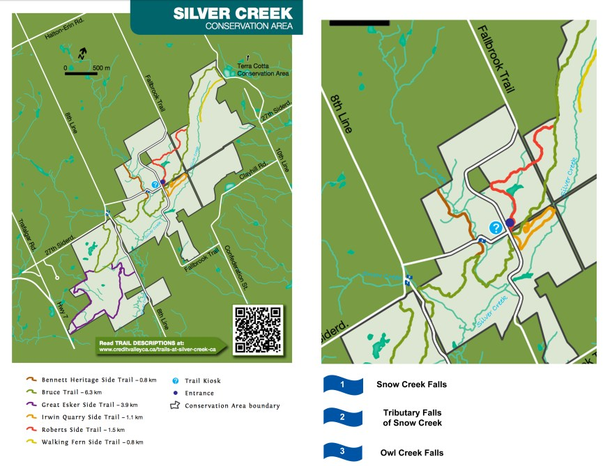 Silver Creek Conservation Area Waterfalls Map, Ontario Waterfalls, Beautiful Places in Ontario, Halton Hills Falls Map, Owl Creek Falls, Snow Creek Falls, Silver Creek Falls,