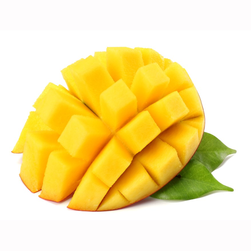 Mango Slice With Green Leaves Isolated On White Background