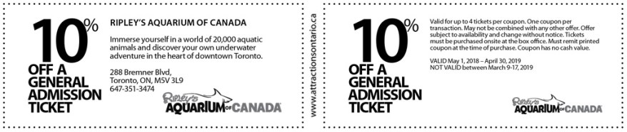 Ontario Attractions Coupons, Coupons Ontario 2018, Ontario Coupons,