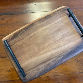 SOLD Walnut Charcuterie/Serving Board with handles and personalized engraving 16 by 10-11inches $110