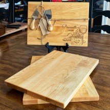 Canadian Maple 🍁 Cutting/Serving wood boards with personalized engraving. 10 by 14 inches with 2 cheese cutters $85 (2 Left)