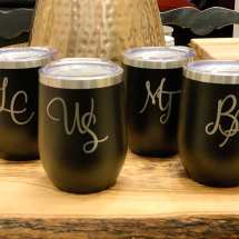 12 oz Personalized stainless steel wine/coffee/cocktail tumbler with two interlock letters custom design $35 each