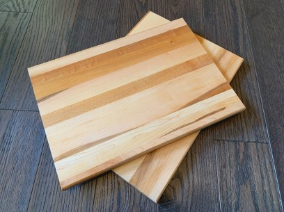 """Maple serving/cutting board with bottom right corner personalized engraving 10"""" x 14"""" $80 (4 available)"""