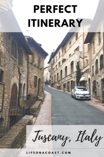 Assisi houses with overlay text perfect itinerary tuscany