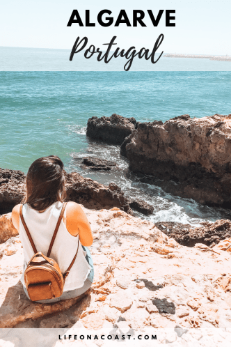 Girl on rock formations overlay text algarve