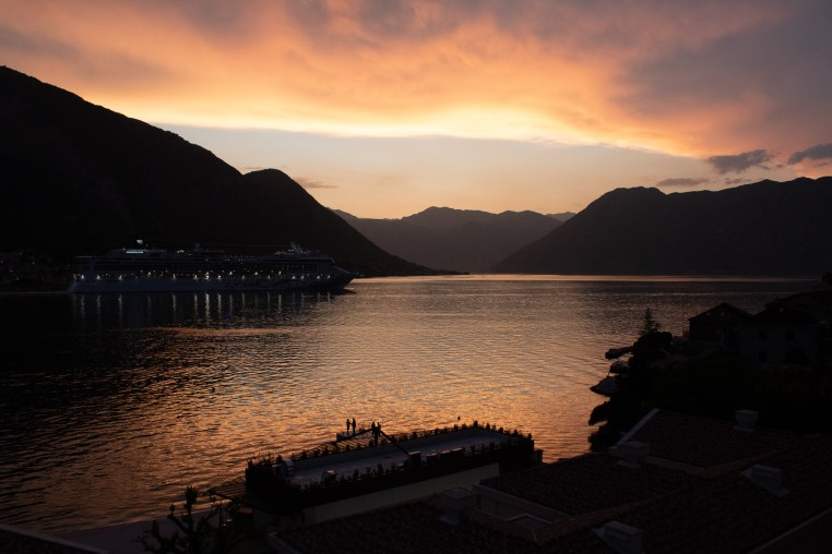 Sunset-Bay of Kotor. Orange tones
