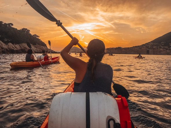Girl Kayaking in the Adriatic Sea