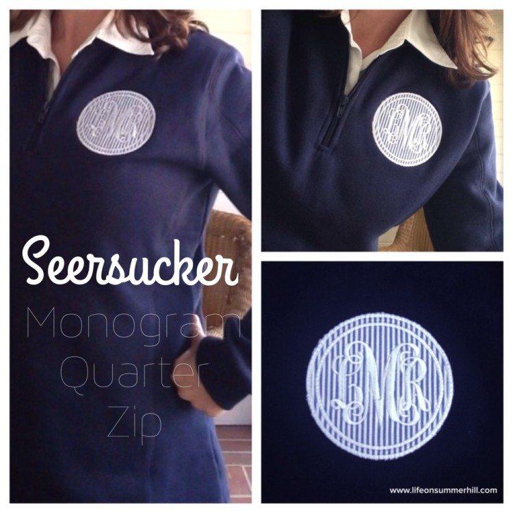 Seersucker Monogram Quarter Zip Sweatshirt www.lifeonsummerhill.com