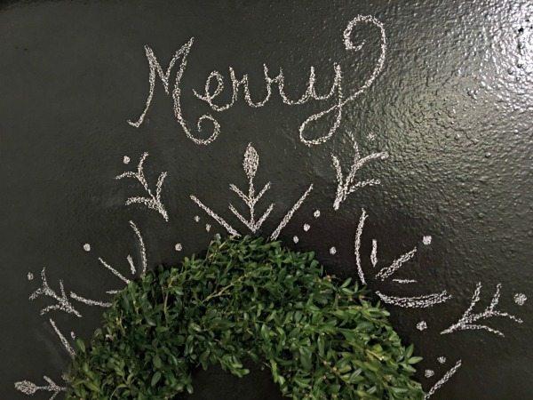 Chalkboard Boxwood Christmas