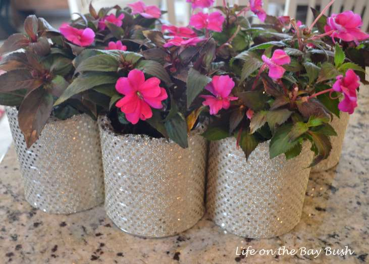 First Birthday Centerpieces using Recycled Formula Cans