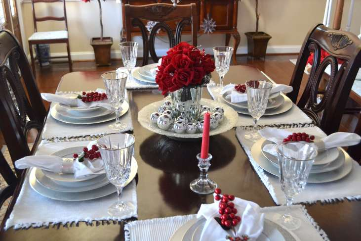 A beautiful and simple red and silver Christmas Tablescape