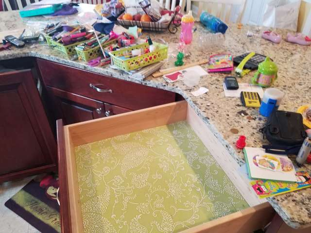 To start any organization project I like to completely empty the space. Check out the finished drawer at Life on the Bay Bush.
