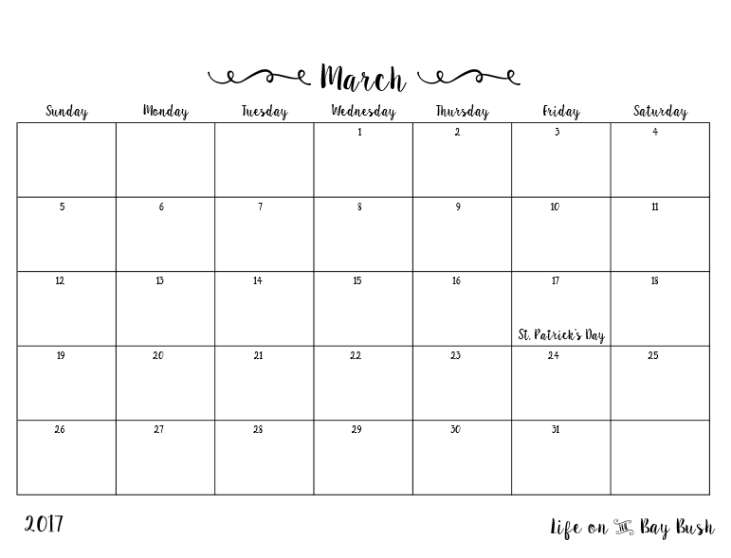 Get a cute and free printable calendar every month at Life on the Bay Bush!