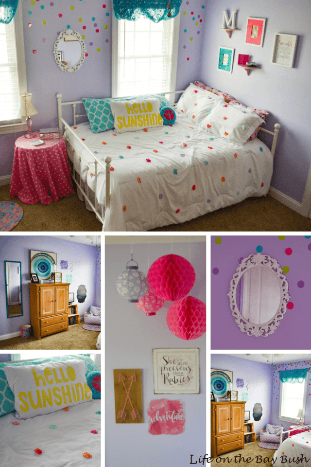 One Room Challenge Girl's Bedroom Makeover Glitter Confetti Girl's Bedroom with DIYs!
