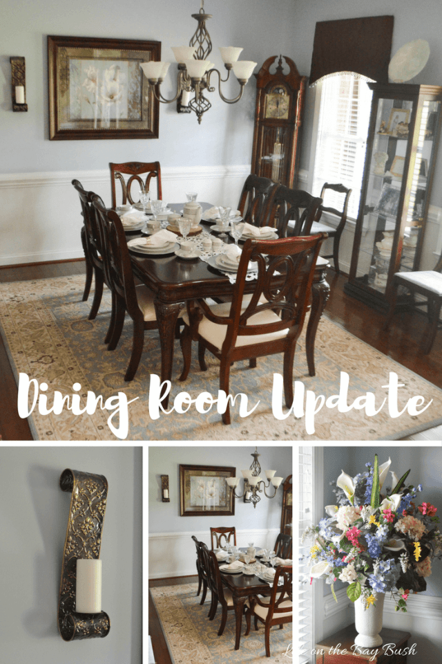 Traditional Dining Room Update by Adding Sconces under $20. The sconces really finish off the blue formal dining room.
