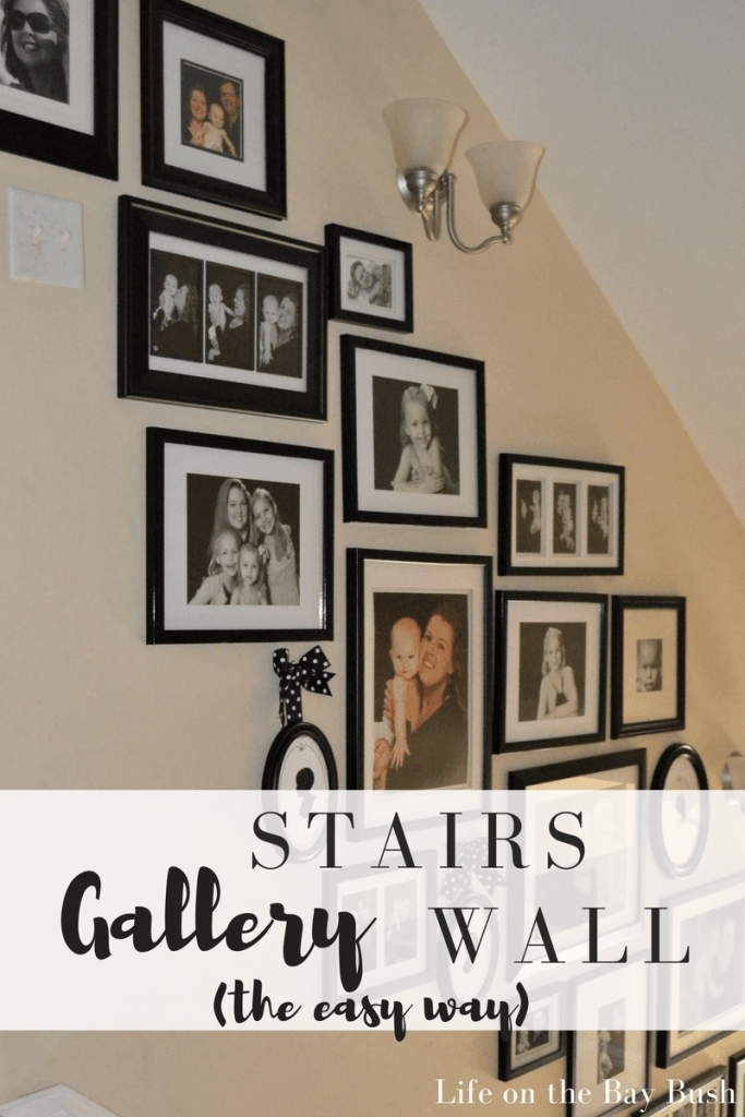 An easy way to make a beautiful gallery wall on the stairs without the fuss of tracing frame or craft paper or spending all day on it. Check out her easy method for hanging a gallery wall!