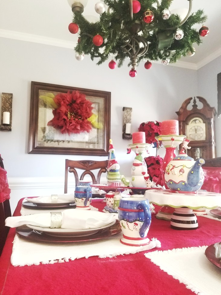 Whimsical Christmas Tablescape - Love the red and white and polka dots
