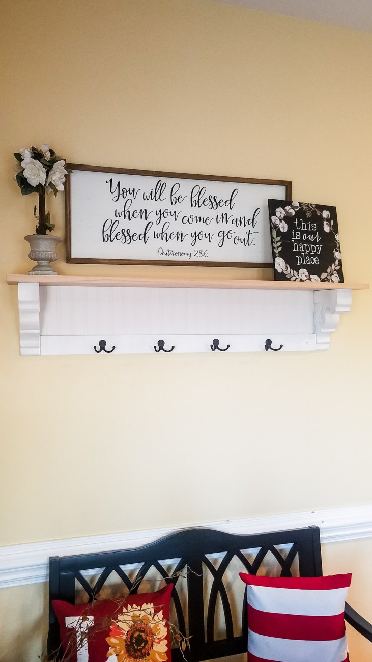 DIY Shelf Tutorial before Staining - Step by Step Instructions for building this beautiful farmhouse shelf! #DIYShelf #DIY