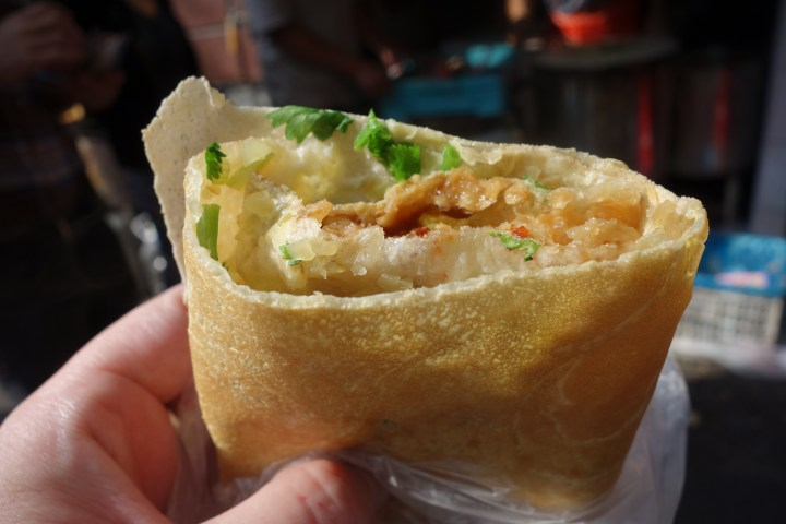 Crispy breakfast pancake in the French concession in Shanghai