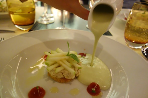 Crab Salad, Apple and Avocado Soup