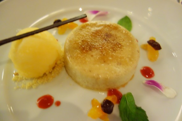Too pretty to eat - Custard Apple Creme Brulee at W Doha's Sommelier's Dinner