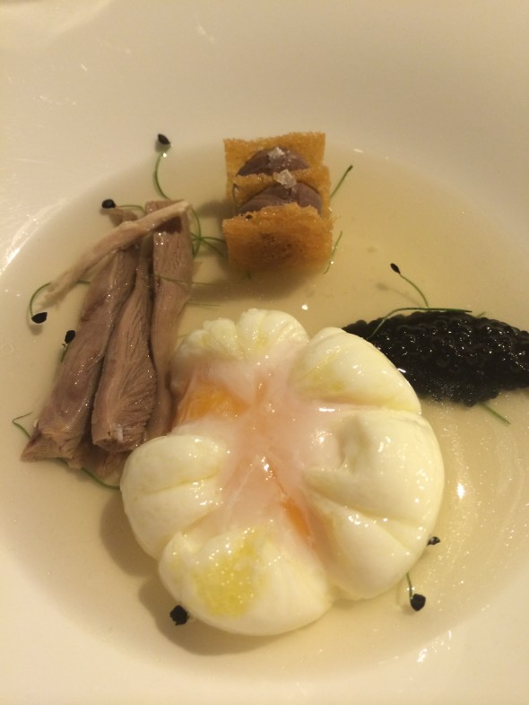 """Michelin star dining at Oro D'aria, which means """"hour of air"""". This stunning restaurant is located across from the old women's prison. It's name refers to the hour of daily exercise for the the women. This dish is """"The Hen, the egg and the eggs: the Tuscan Grandmother's rituals""""."""