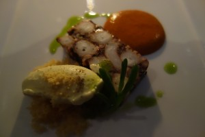 Octopus terrine with feta icecream