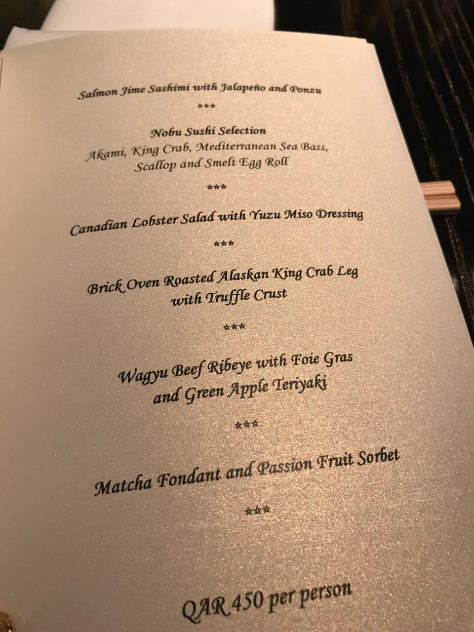 Omakase menu at Nobu Doha