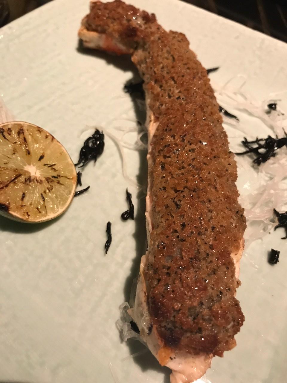 King crab leg with truffle crust