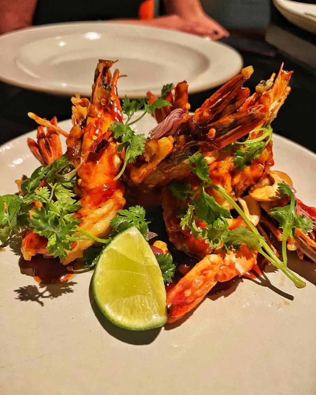 stirfry prawns Saffron Thai restaurant at Banyan Tree Doha