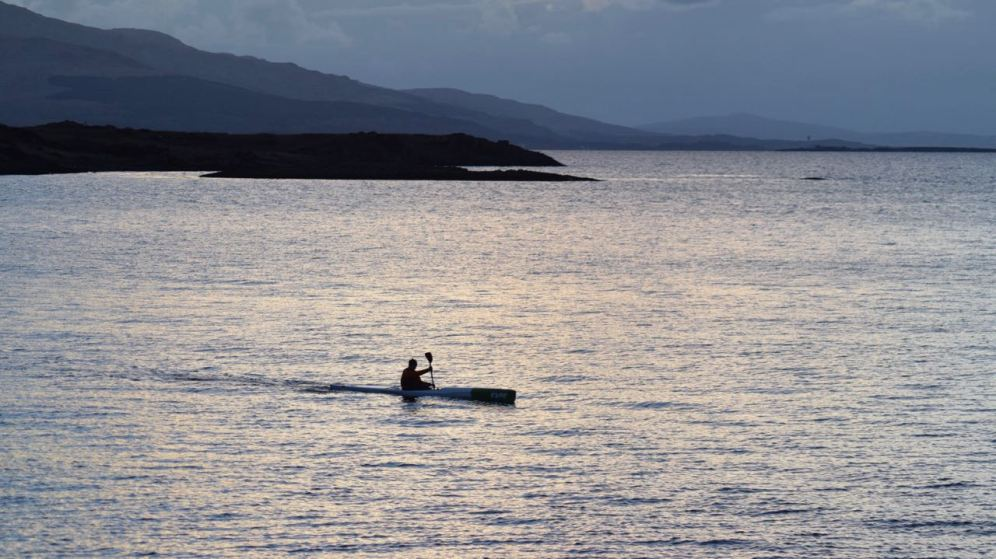 A lone canoeist in the Bay