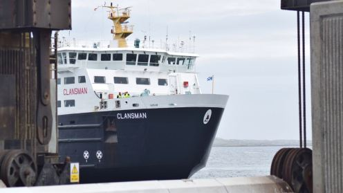 The MV Clansman framed by the pillars of the linkspan.