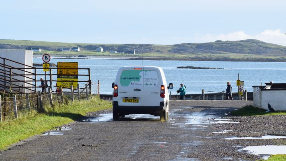 The Tiree Ranger drives in.