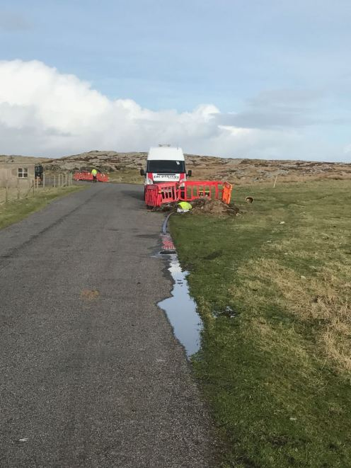 Cable work in Pier Road, Scarinish