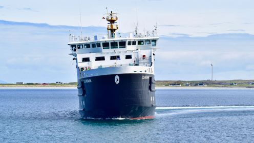 The MV Clansman turns to port in preparation for berthing