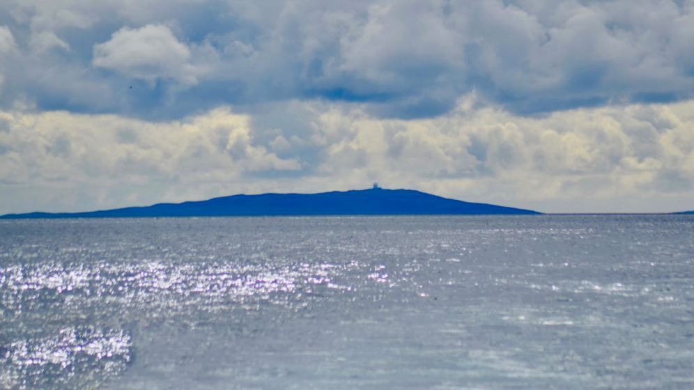 Ben Hynish and the Golf Ball on Tiree from the PS Waverley