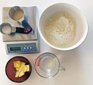 Ingredients for making bread bowls