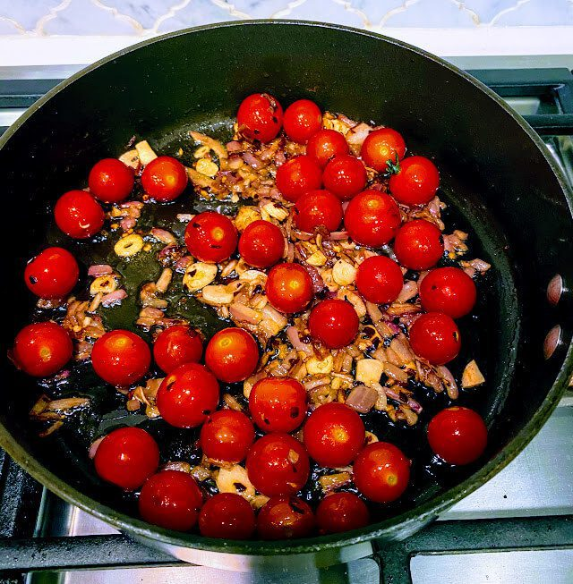 Pasta Puttanesca Saute with Tomatoes
